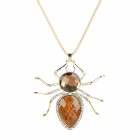 Spider Style Fashionable Lady's Long Pendant Necklace - Brown + Golden