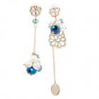 Fashionable Asymmetrical Style Lady's Pearl + Rhinestone Earrings - Golden + Blue + White