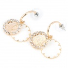 Creative Hollow Rose Style with Shining Rhinestone Copper Aluminum Alloy Earrings - Golden (Pair)