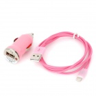 Car Cigarette Lighter Plug Charger + USB 8 Pin Lightning Data & Charging Cable for iPhone 5 - Pink