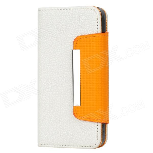Protective PU Leather Flip-Open Case for Iphone 5 - White + Orange omo protective pu leather flip open case for iphone 4 4s white