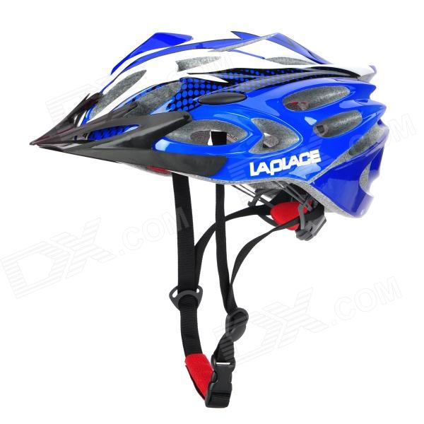 Laplace A8 Outdoor Sports Cycling Helmet w/ Channeled Vents - Deep Blue + White