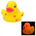 121203 Heart Pattern Cute Floating Duck Style Lighting Bath Toy for Baby - Yellow + Red (2 x AG1130)