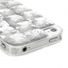 3D Diamond Protective Plastic + Resin Hard Back Case for Iphone 4 / 4S - Silver