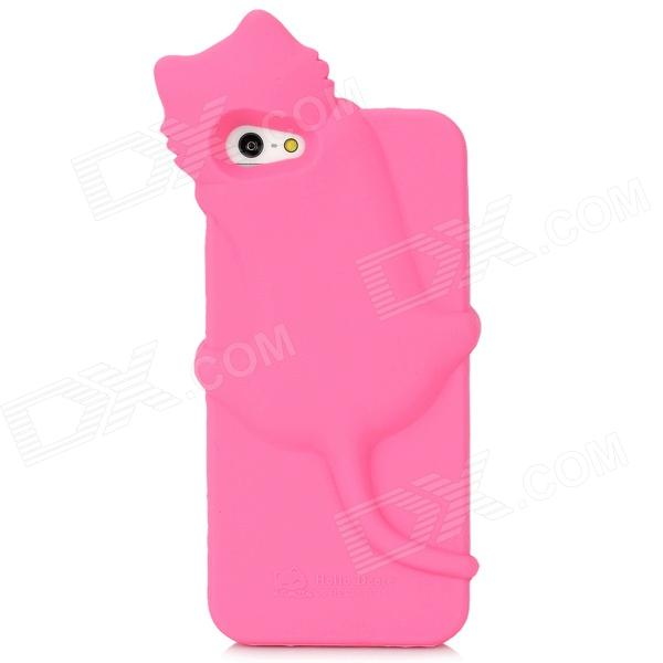 Cute Cartoon Cat Style Protective Silicone Case for Iphone 5 - Pink