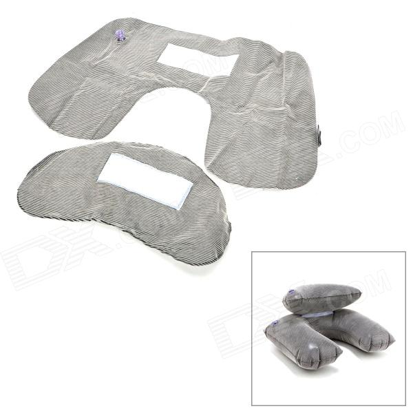 Zero Zone L023 Pain Relief Soft Inflatable U Shaped Travel Neck Cushion Pillow - Grey + Black