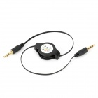 Retractable 3.5mm Male to Male Audio Cable - Black (Max. 80cm)