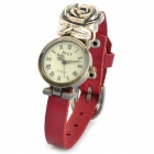 Retro PU Band Analog Quartz Lady's Wrist Watch w/ Rose - Red (1 x 626)