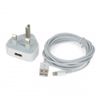 UK Plug Power Adapter + USB to 8 Pin Lightning Data & Charging Cable for iPhone 5 - White