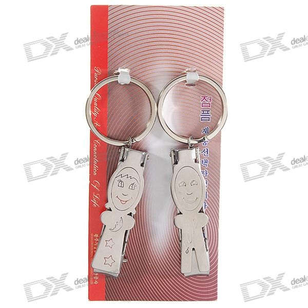 Stainless Steel Nail Clippers Couple' Keychain (2-Piece Set)