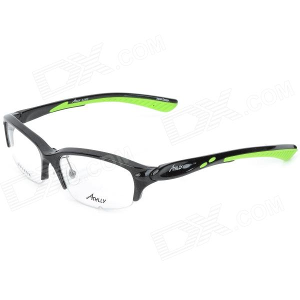 ATHLLY A-002 TR90 Half-Frame Resin Lens Glasses - Black + Green reedoon f207 radiation blue ray protection tr90 frame resin lens gaming glasses black blue