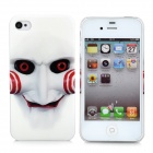 Ghost w/ Smile Pattern Protective Back Case for iPhone 4 / 4S - Black + White + Red + Black