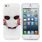 Ghost w/ Smile Pattern Protective Back Case for iPhone 5 - Black + White + Red + Black