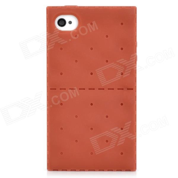 Soda Biscuit Style Protective Silicone Back Case for Iphone 4 / 4S - Dark Red
