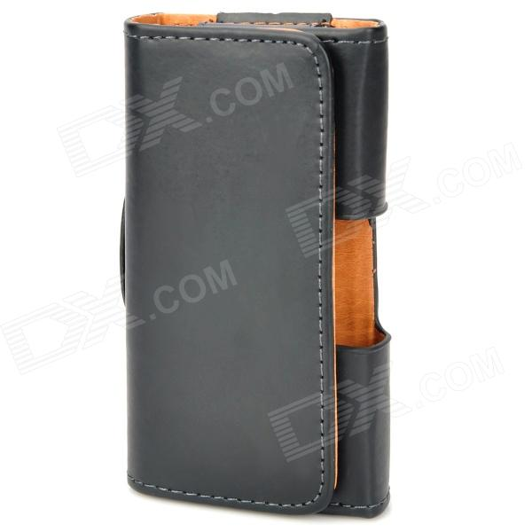 Waist Flip-Open PU Leather Case for Iphone 3gs / 4 / 4S - Black fashion vertical crazy horse pu leather flip case for iphone 4 4s black