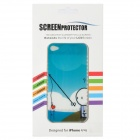 Cute Fishing Heart Pattern Protective PET Front + Back Protector w/ Cleaning Cloth for Iphone 4 / 4S