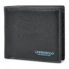 LENWEBOLO Cowhide Wallet Purse for Men - Black
