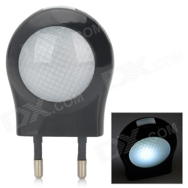 SN-103 Mini 0.6W Low Power White Light Wall Night Lamp - Black (2-Round-Pin Plug / 220~240V)