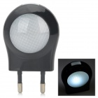 SN103 Mini 0.6W Low Power White Light Wall Night Lamp - Black (2-Round-Pin Plug / 220~240V)