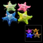 Cute Starfish Shape 3-LED Red / Orange / Blue Light Soft Rubber Necklace - Green + More (4 PCS)