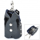 Vest Style Fashionable Smooth Artificial Leather Key Bag - Black