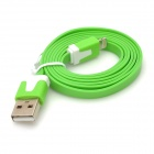USB 8-pin Lightning Male Data / Charging Flat Cable for iPhone 5 - Green (1m)