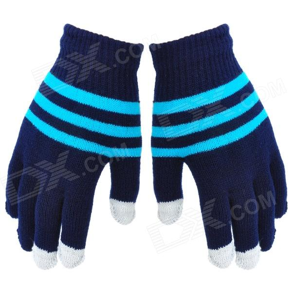 Stripe Pattern Hand Warmer Gloves for Touch Screen Device - Deep Blue + Light Blue + Grey (Pair)