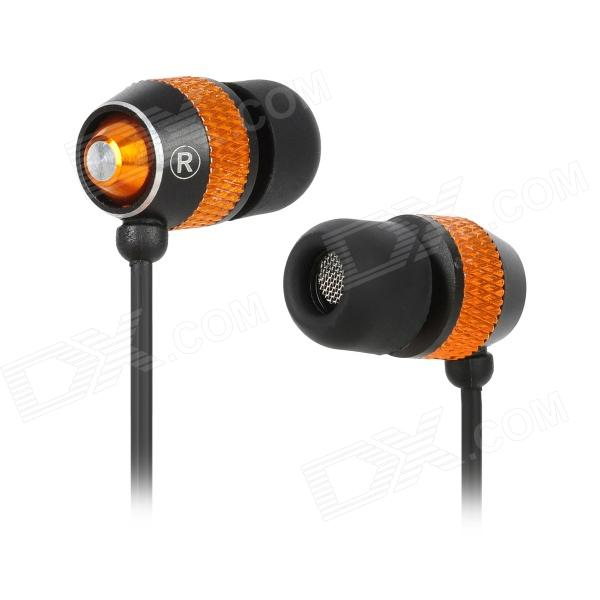 D9 Aluminum Alloy Housing In-Ear Earphones - Black + Orange (3.5mm Plug / 125cm-Cable)