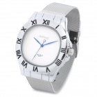 Roman Numeral Scale Round Dial Case Stainless Steel Quartz Wrist Watch for Man - Silver (1 x 377)
