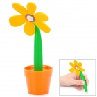 Creative Sunflower Pot Style Soft Silicone Ballpoint Pen - Yellow