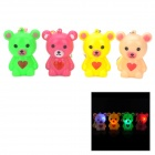 Cute Bear Shaped 3-LED Red / Orange / Blue Light Plastic Necklace (4 PCS)