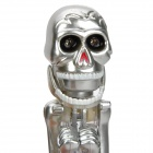 Novelty Skull Skeleton Boxing Ballpoint Pen w/ Red LED Light - Silver (2 x AG3)