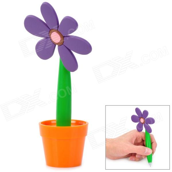 Creative Sunflower Pot Style Soft Silicone Ballpoint Pen - Purple