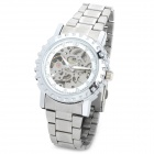 CJIABA GK8007 Men's Stainless Steel Mechanical Self-winding Skeleton Wristwatch - Silver + White