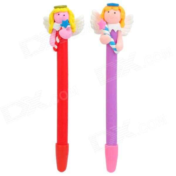 Sweet Angel with Lucky Star Style Soft Ceramic Ballpoint Pen - Multicolored (2 PCS)