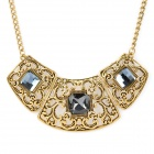 Retro Hollow Out Engraving CZ Diamond Alloy Necklace - Golden