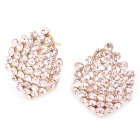 Shining Rhinestone Hexagon Shaped Copper Aluminum Alloy Earrings - Golden (Pair)