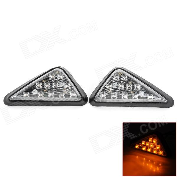 5.5W 128lm 11-LED Yellow Light ABS Turn Signals for Motorcycle / Sporty Cars + More - Black (2 PCS) 2015 milan 5000lm fanless 5000lm 6000lm 40w fish tail 6000k 881 led for all car freeshipping mmm
