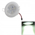 JR Fins 6W 480lm 6300K 3-LED White Light Ceiling Lamp w/ LED Driver - Silver + Milky White (85~265V)
