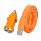 Car Cigarette Lighter Charger + USB 8 Pin Lightning Flat Data Charging Cable for iPhone 5 - Orange