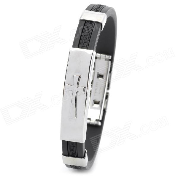 GJ003 Cross Pattern Silicone Stainless Steel Bracelet - Black + Silver