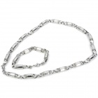 316L Stainless Steel Bullet Shape Bracelet + Necklace Set - Silver