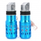 Aluminum Alloy Motorcycle Rear Back Pedals w/ Flashing LED for Yamaha / SUZUKI - Blue (2 PCS)