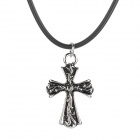 Fashion Stainless Steel Cross Pendant Necklace - Black + Silver