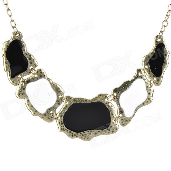 Party Decoration Baroque Style Collar Necklace for Women - Golden + Black + White elegant hand style alloy shirt collar tips necklace golden