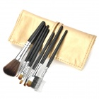 Portable 7-in-1 Professional Cosmetic Makeup Brush Set w/ Golden PU Leather Case - Black + Silver