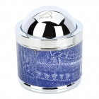 YHG001 Stainless Steel Ashtray w/ Flip Cap - Blue