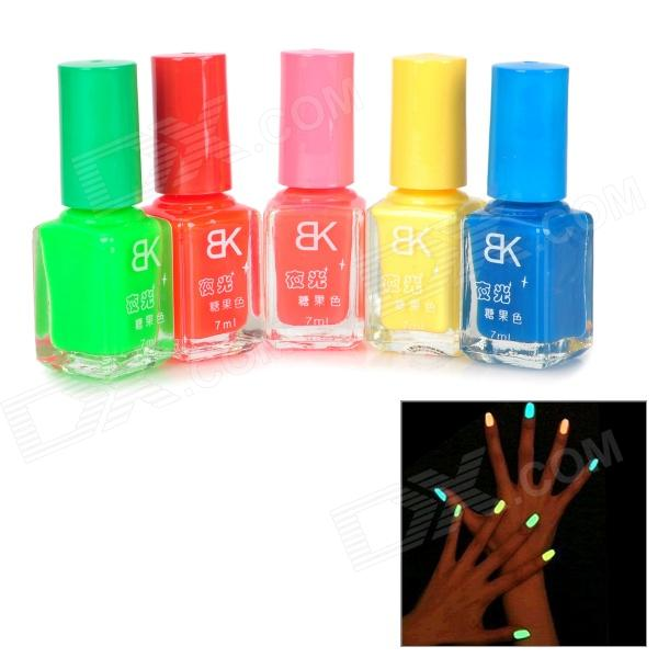 Fashion 5-Color Glow-in-the-Dark Non-Toxic Material Nail Polish - Red + Yellow + More (5 PCS)