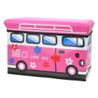 HappyFish Folding Love Bus Style Padded Seat Stool Toys Storage Box Case for Kids - Pink (Size S)