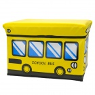 HappyFish Folding School Bus Style Padded Seat Stool Toys Storage Box for Kids - Yellow (Size S)